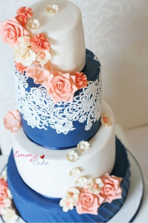 Striking Peach And Navy Wedding Cake Ideas