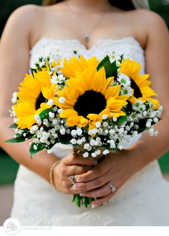 Sunflower and Baby's Breath Bouquet photo by lukeandcat