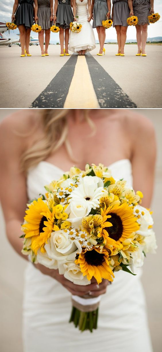 Sunflower wedding bouquet by colorado florist Hollie Love Letters Floral Design - photography by ashton and leah