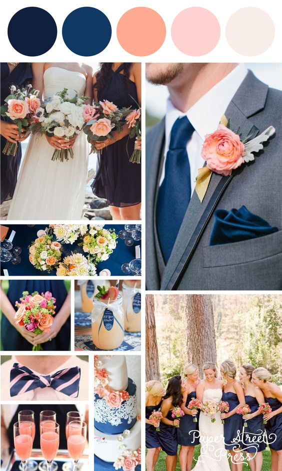 Trendy Navy Blue and soft coral and peach wedding ideas