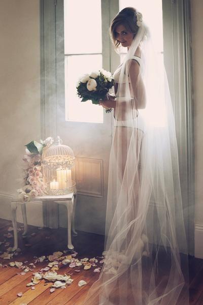 Wedding Lingerie Under Long Veil Ideas. Love This Idea
