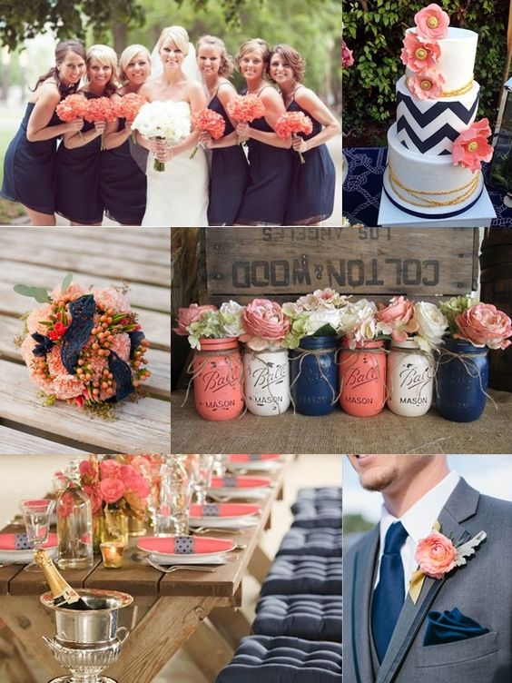 Weddings by Color - Navy Blue Peach Wedding Ideas