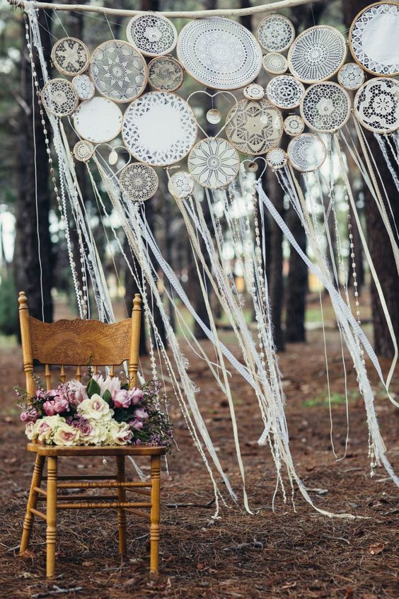 boho dream catcher wedding backdrop