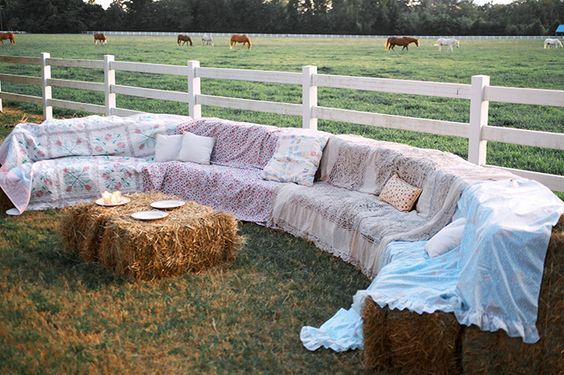 hay bale lounge area for your rustic wedding