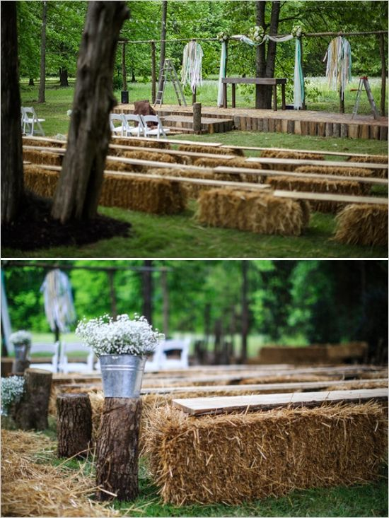 hay bales and boards as seating for backyard outdoor wedding ceremony