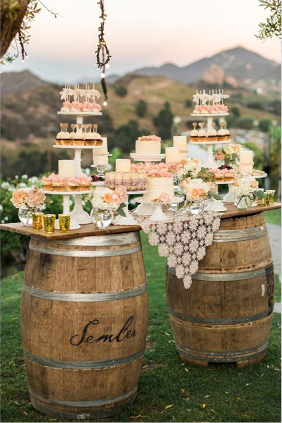 rustic inspired mini wedding bar with barre