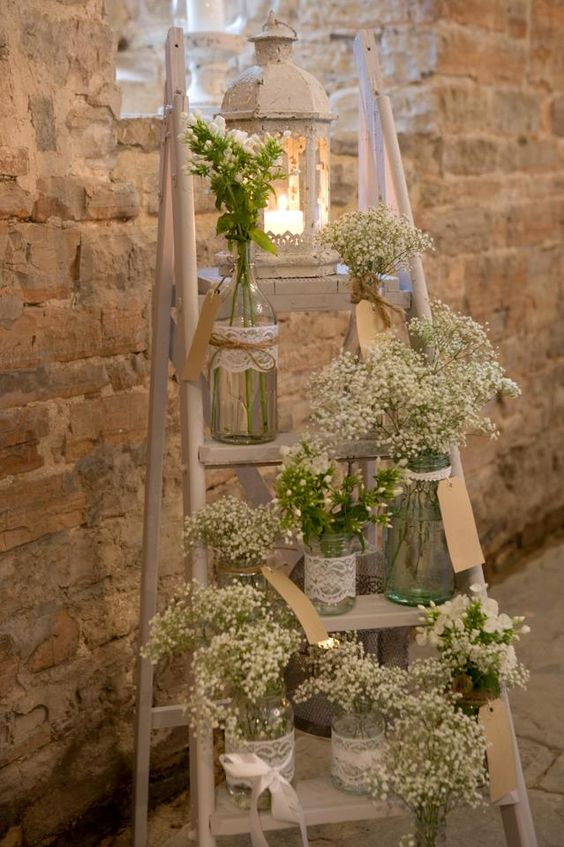Baby's breath with ladders for rustic weddings