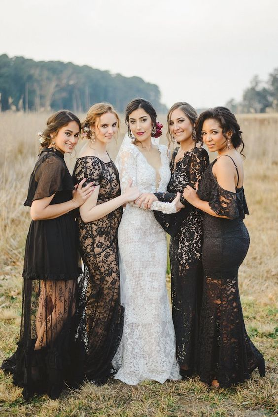 Black Lace Bridesmaid Dresses photo by Roxanne Davison