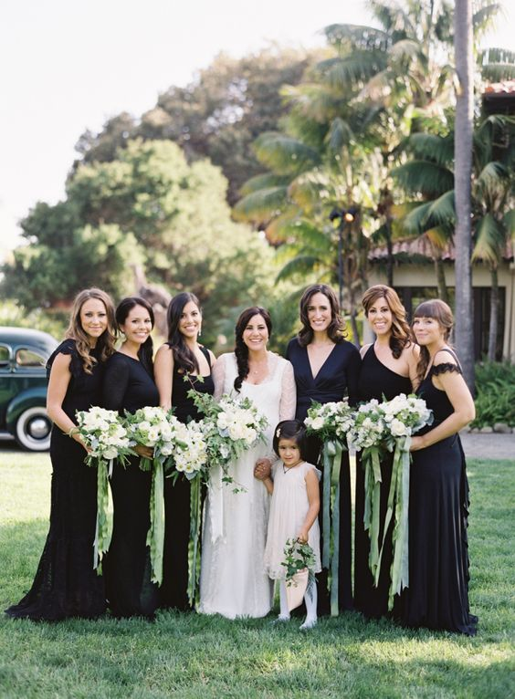 Fall Wedding With Black Bridesmaid Dresses : Dos pueblos ranch wedding mix and match bridesmaid in long black gowns