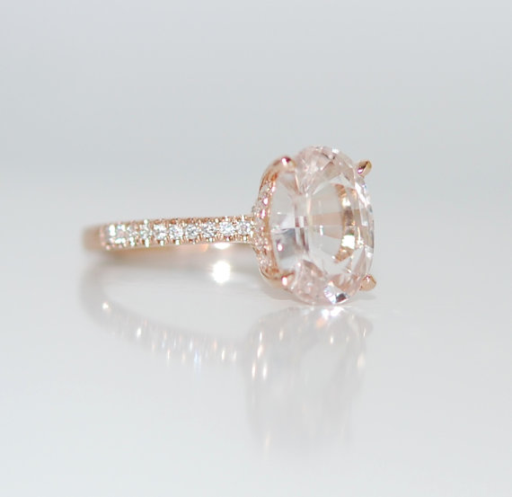 Blake Lively ring White Sapphire Engagement Ring oval cut 14k rose gold diamond ring 2.1ct