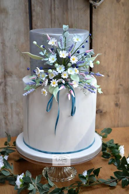 Boho Chic Cottage Garden Wedding Cake by The Old Manor House Bakery