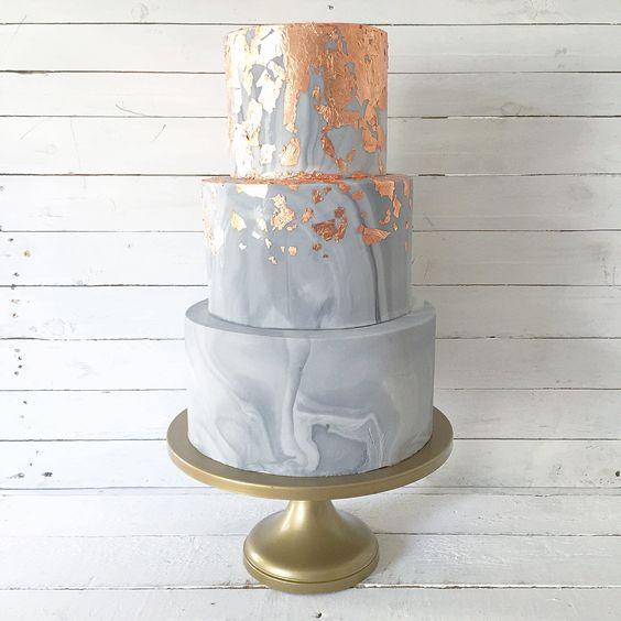 Copper leaf and marble effect wedding cake design