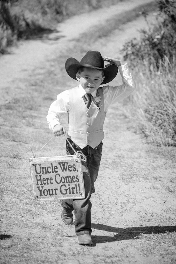 Cowboy Ring Bearer and Sweet Signs