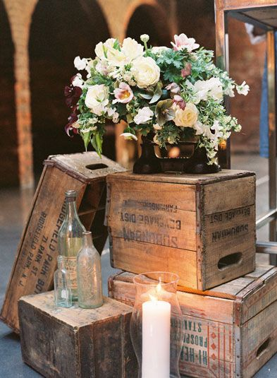 Crates flowers on antique scale