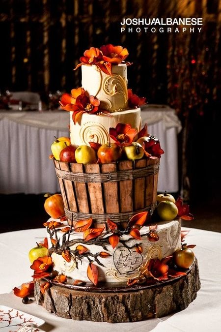 Creative autumn wedding cakes with tree stumps