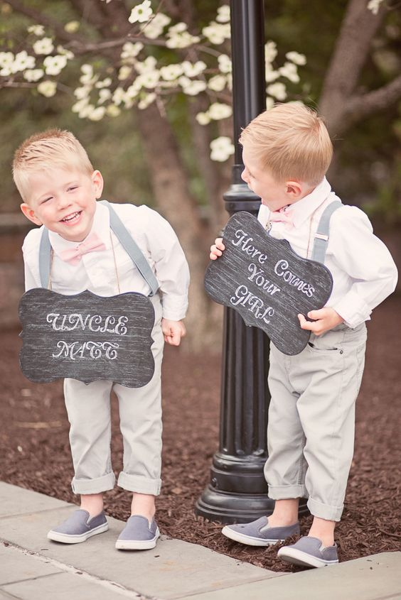 Cute Ring Bearers Holding Signs