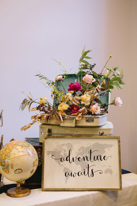 Decorations for A super stylish vintage travel-themed wedding