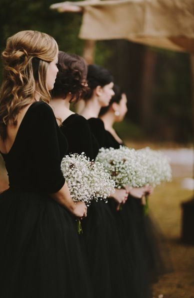 Elegant black dresses for your bridesmaids