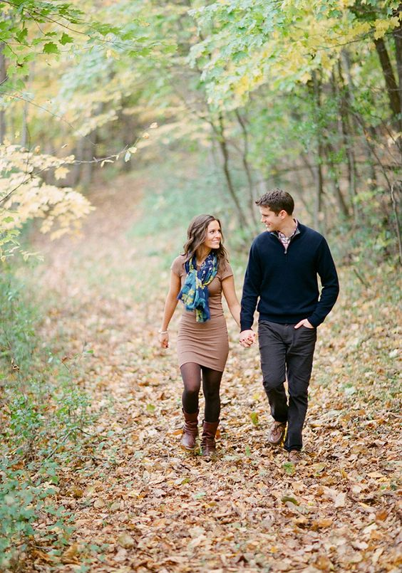 Engagement session in the woods perfect for fall