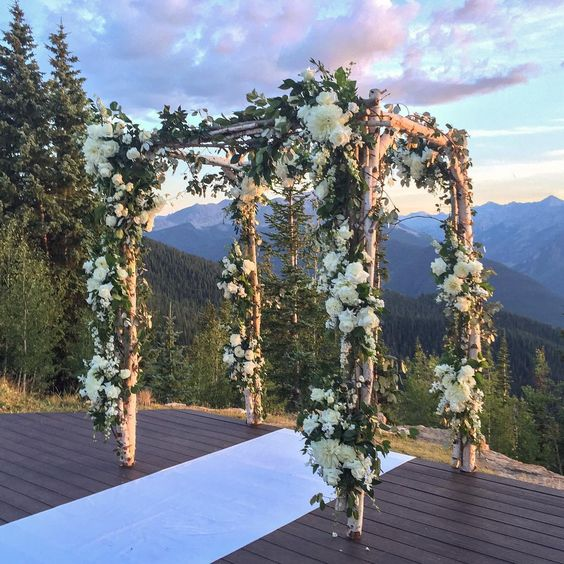 Gorgeous outdoor wedding ceremony chuppah