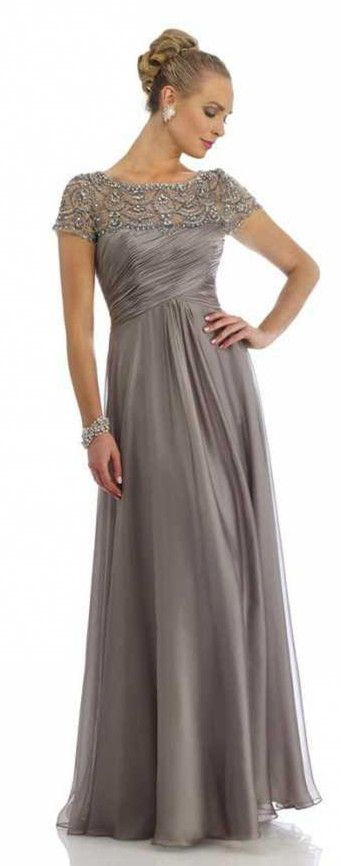 Grey Mother of the Bride Dresses Scoop Beading Floor Length