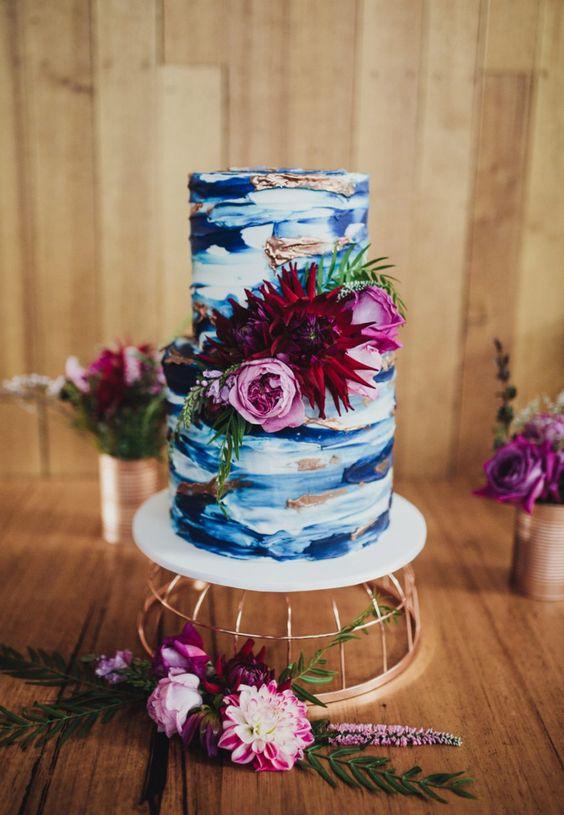 Indian Weddings Inspirations Blue Wedding Cake