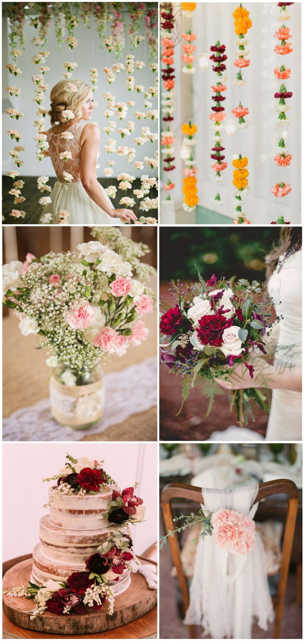 Intriguing and romantic carnation wedding bouquets and backdrop ideas