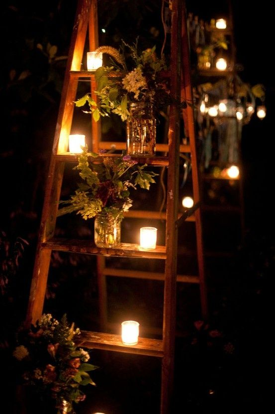 Ladder Decor Candle Lights for Rustic Wedding