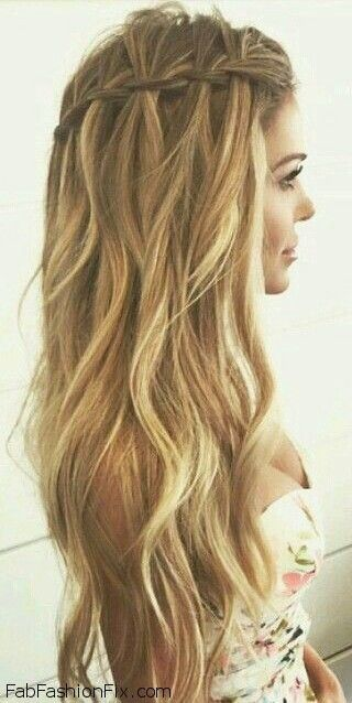 18 creative and unique wedding hairstyles for long hair loose waterfall braid for summer hair inspiration chic wedding hairstyles for long junglespirit Gallery