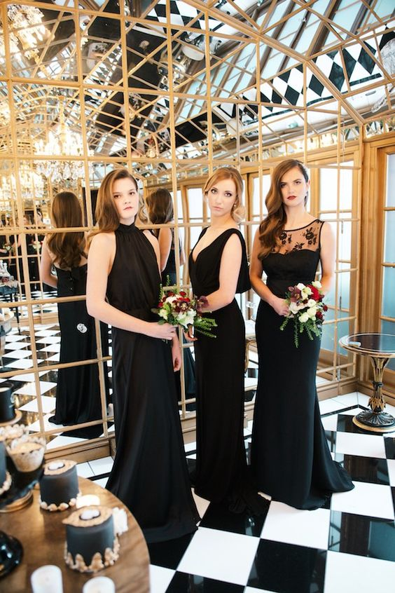 Luxurious Black Bridesmaid Dress & Gold Wedding Ideas