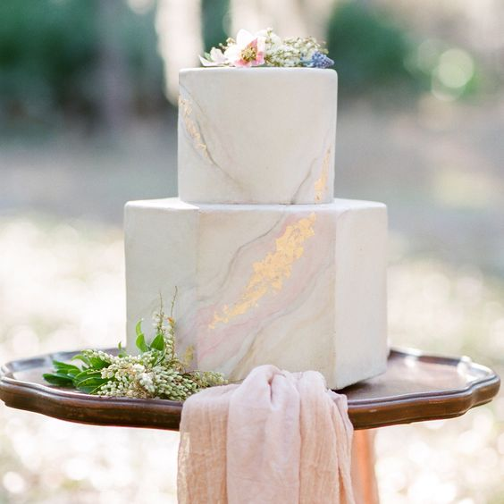 Marbled inspired wedding cake