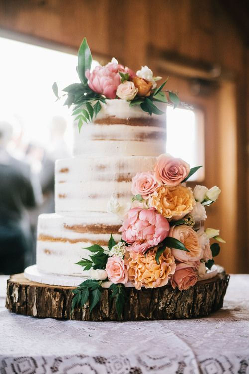 Naked Cake Peach Orange Floral with tree stump