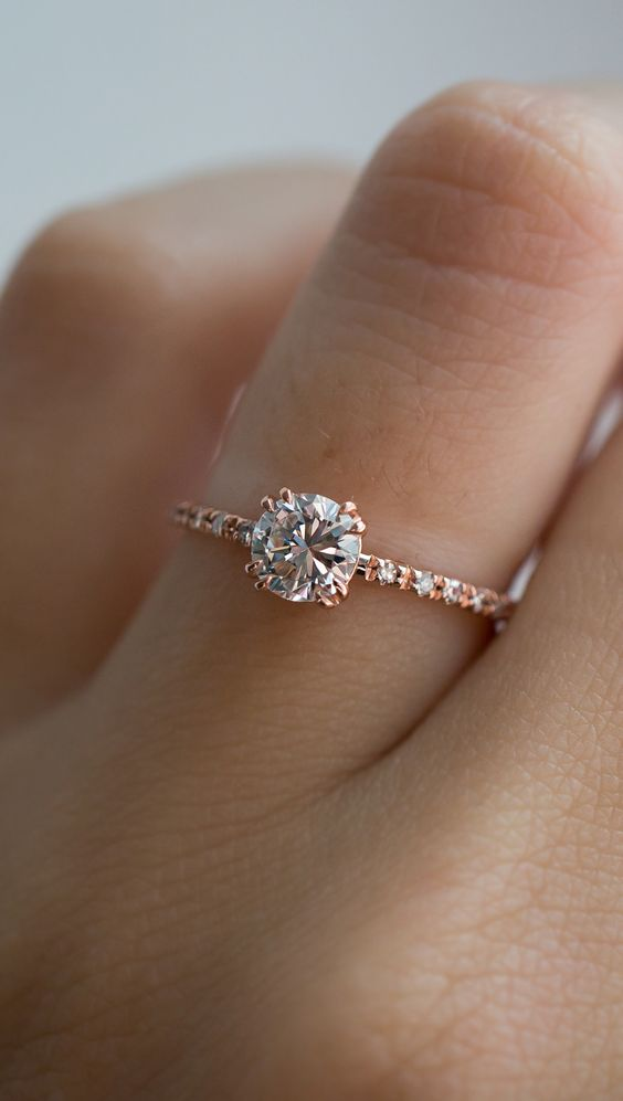 Perfect vintage diamond Rose gold engagement ring