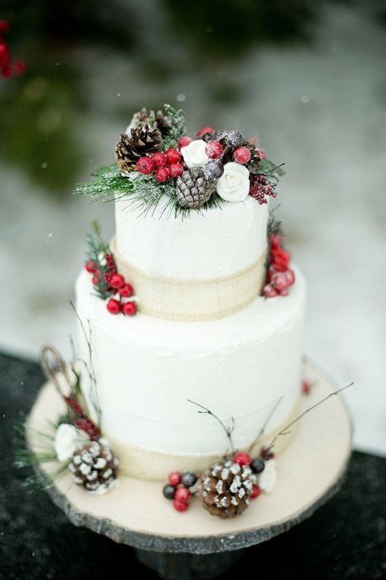 Pinecones and Cranberries Wedding Cake for A Christmas Themed Wedding