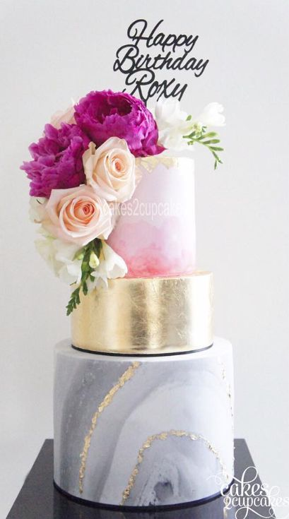 Pink and Gold Marble Wedding cake idea