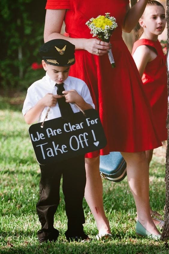 Retro aviation themed wedding Ring Bearer Signs
