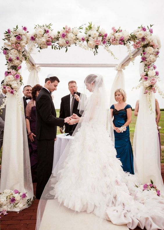 Romantic Jewish Wedding Chuppah with Cascading Flowers by Mazelmoments