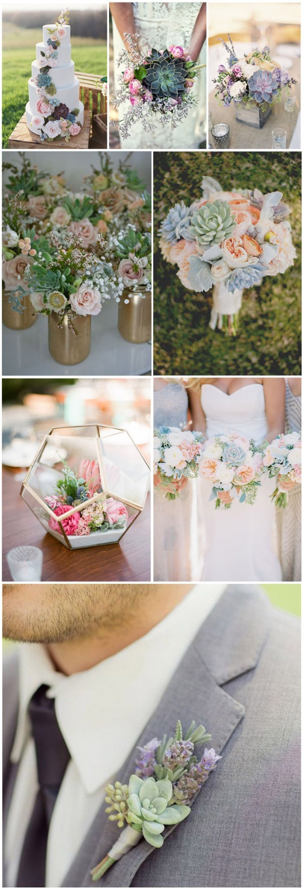 Romantic succulent wedding decor and bouquet ideas