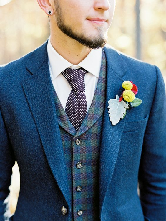 Rustic Navy Groom Suit Photo by When He Found Her