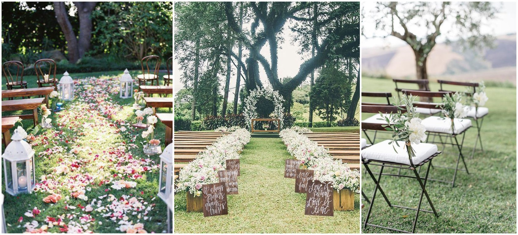 Rustic wedding decorations ceremony the for Outdoor dekoration