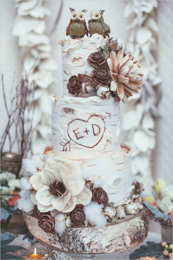 Rustic Themed Woodland Wedding Cakes