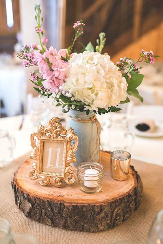 Shabby & Chic Vintage Wedding Decor With mason jar and wood stump