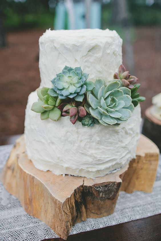 Simple Wedding Cake Decorated with Succulents wood platforms and lace runner