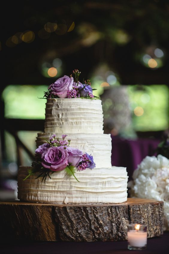 Simple and Elegant Purple Wedding Cake