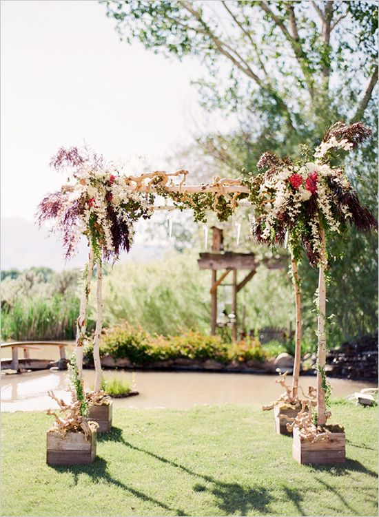 Simple birch wedding arbor Chuppah ideas