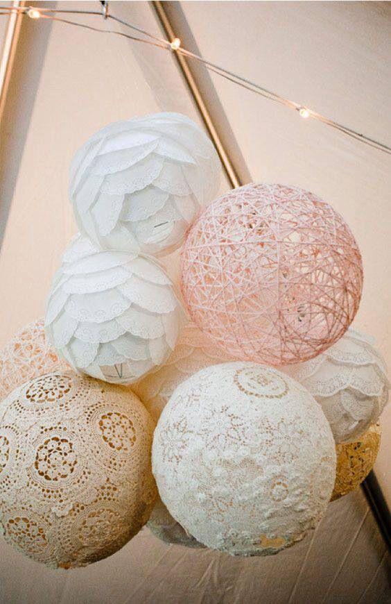 Spray glue the dollies twine to a blown up balloon vintage diy wedding ideas
