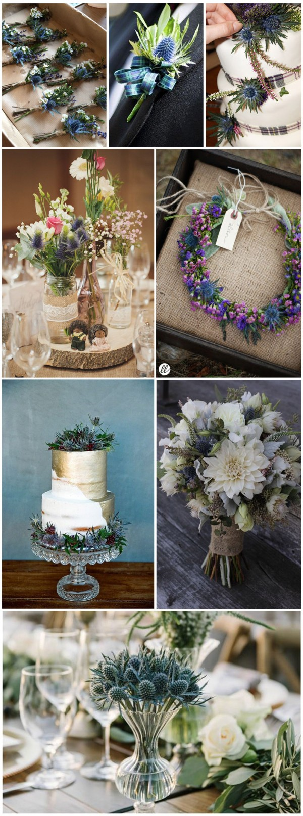 Thistle-themed wedding cake and decor ideas