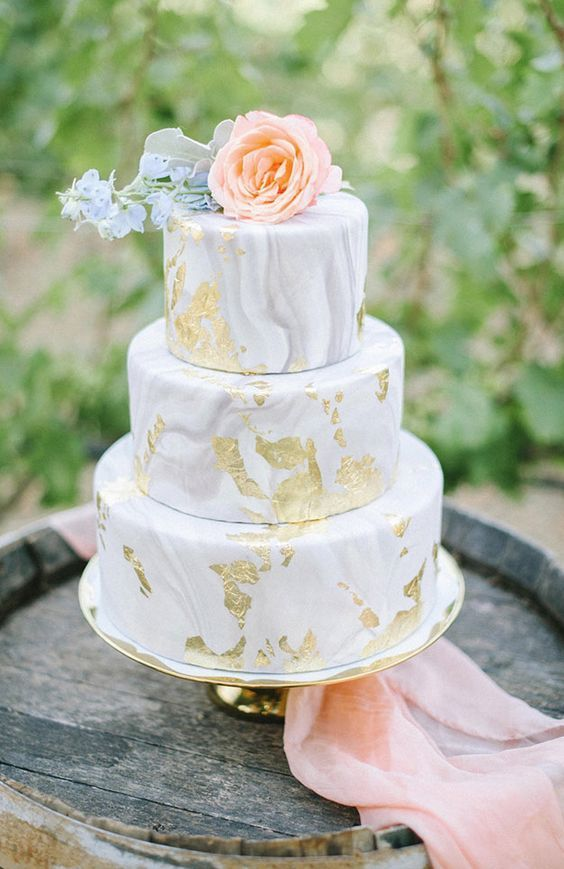 Unique grey marble three tier wedding cake
