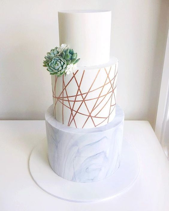 Very modern wedding cake composed of marble