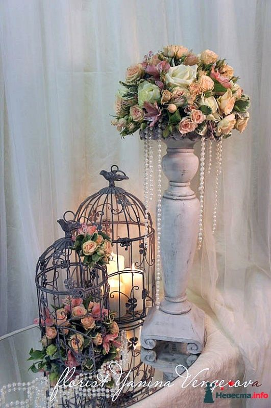 Vintage and unique birdcage and floral wedding decorations